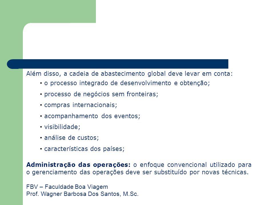 FBV – Faculdade Boa Viagem Prof. Wagner Barbosa Dos Santos, M.Sc. Além disso, a cadeia de abastecimento global deve levar em conta: o processo integra