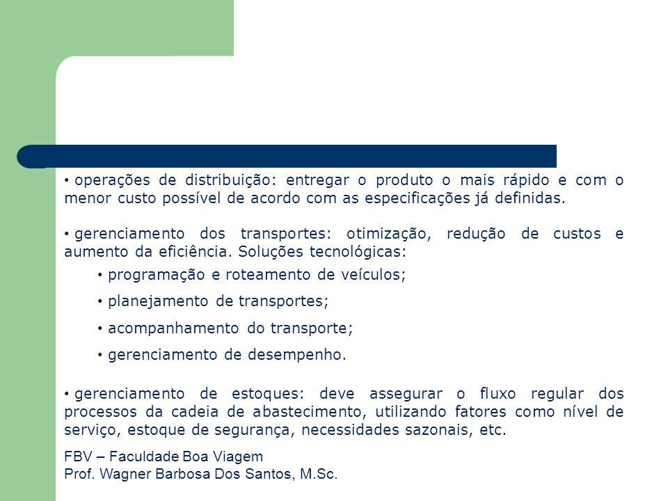 FBV – Faculdade Boa Viagem Prof. Wagner Barbosa Dos Santos, M.Sc. operações de distribuição: entregar o produto o mais rápido e com o menor custo poss