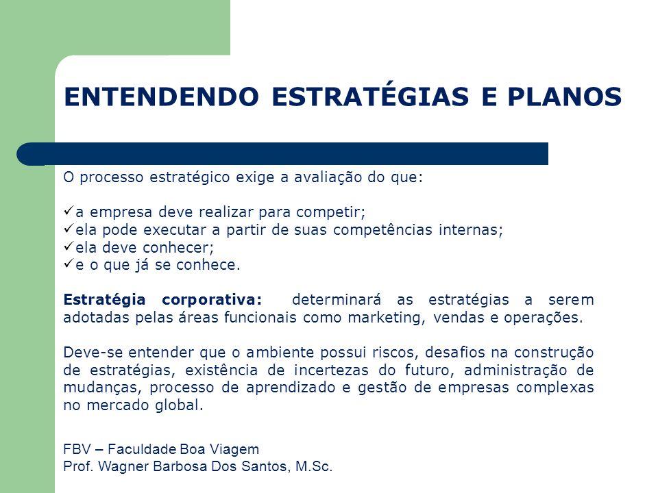 FBV – Faculdade Boa Viagem Prof. Wagner Barbosa Dos Santos, M.Sc. O processo estratégico exige a avaliação do que: a empresa deve realizar para compet