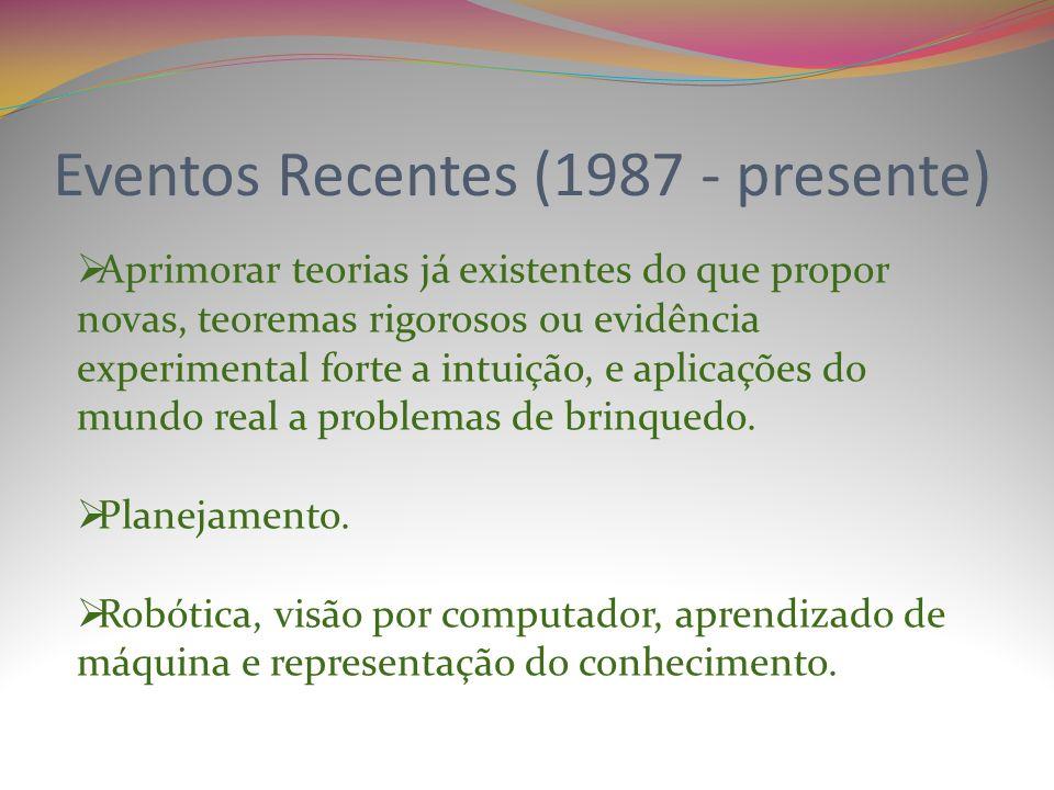 Eventos Recentes (1987 - presente) Aprimorar teorias já existentes do que propor novas, teoremas rigorosos ou evidência experimental forte a intuição, e aplicações do mundo real a problemas de brinquedo.