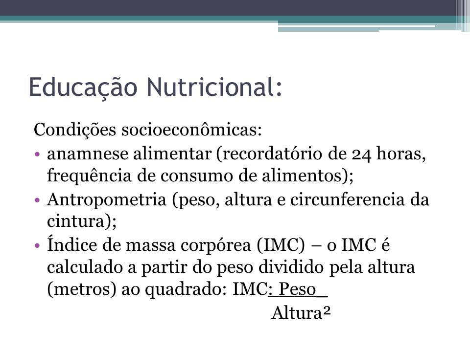 Educação Nutricional: Condições socioeconômicas: anamnese alimentar (recordatório de 24 horas, frequência de consumo de alimentos); Antropometria (pes