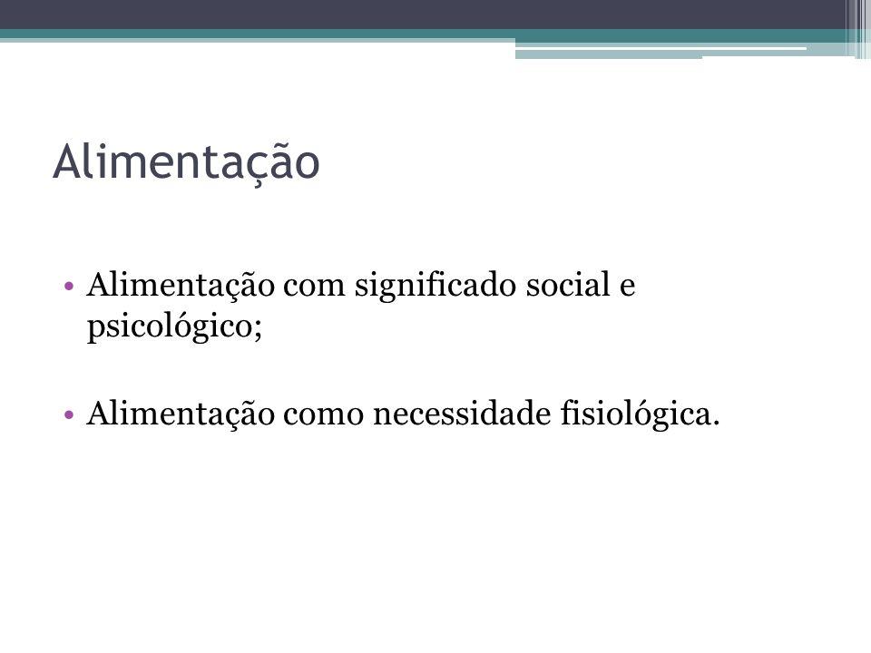 Alimentação Alimentação com significado social e psicológico; Alimentação como necessidade fisiológica.