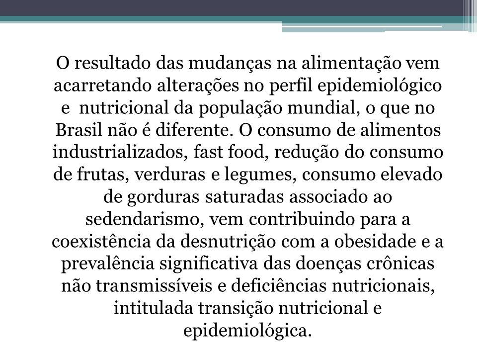 O resultado das mudanças na alimentação vem acarretando alterações no perfil epidemiológico e nutricional da população mundial, o que no Brasil não é