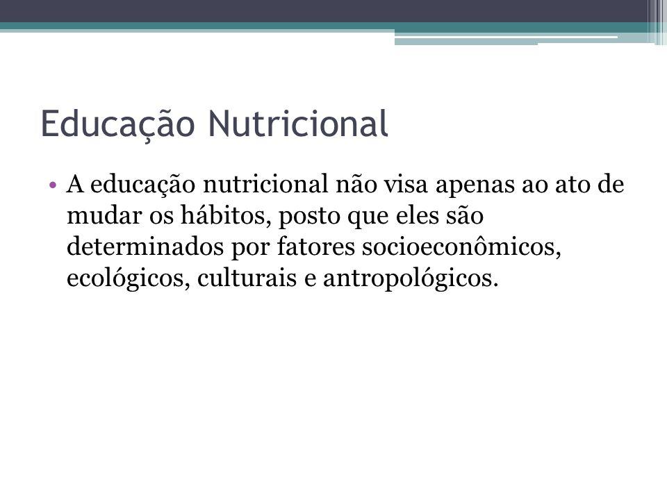 Educação Nutricional A educação nutricional não visa apenas ao ato de mudar os hábitos, posto que eles são determinados por fatores socioeconômicos, e