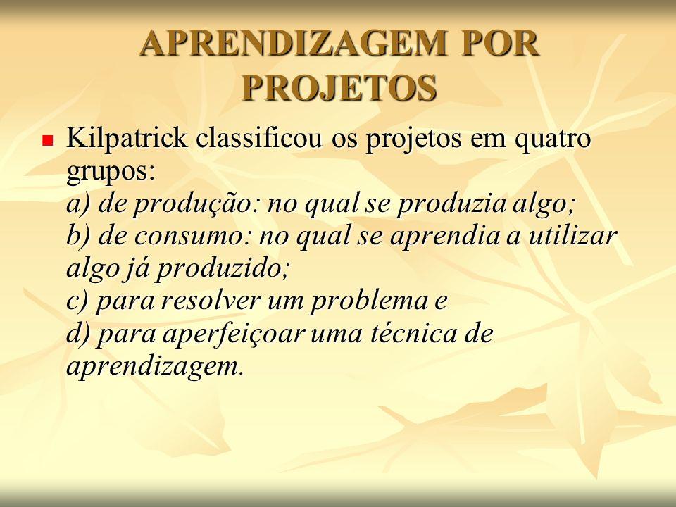 APRENDIZAGEM POR PROJETOS Kilpatrick classificou os projetos em quatro grupos: a) de produção: no qual se produzia algo; b) de consumo: no qual se apr