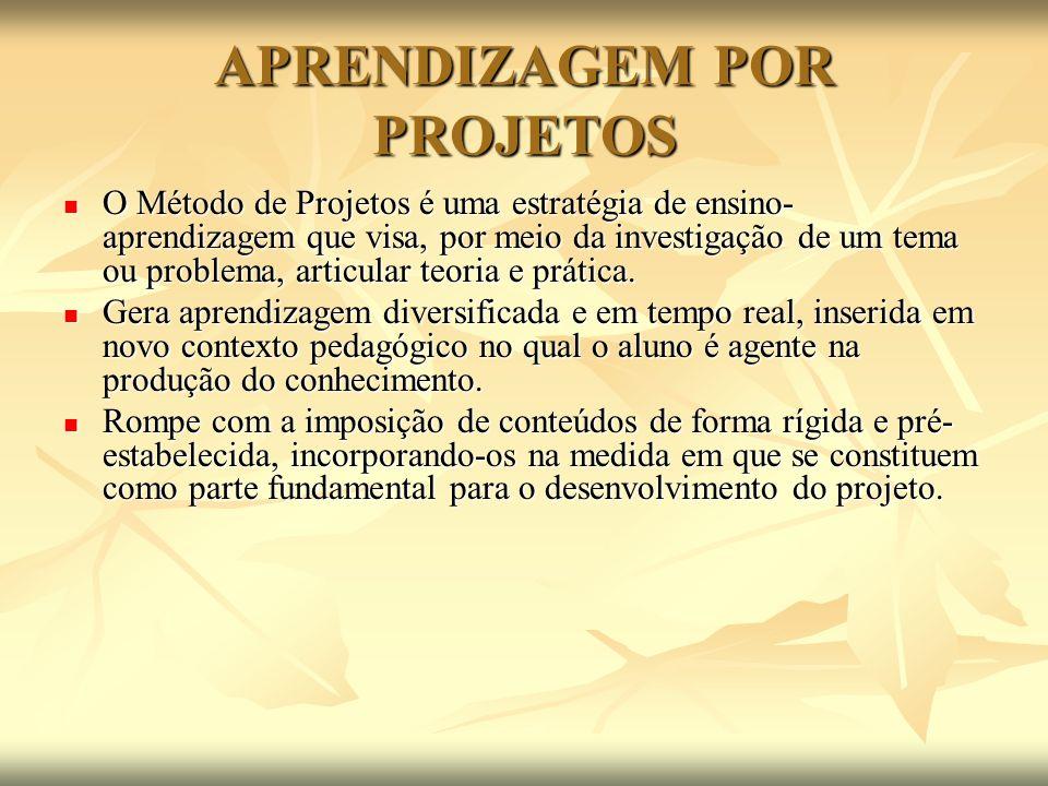 APRENDIZAGEM POR PROJETOS O Método de Projetos é uma estratégia de ensino- aprendizagem que visa, por meio da investigação de um tema ou problema, art