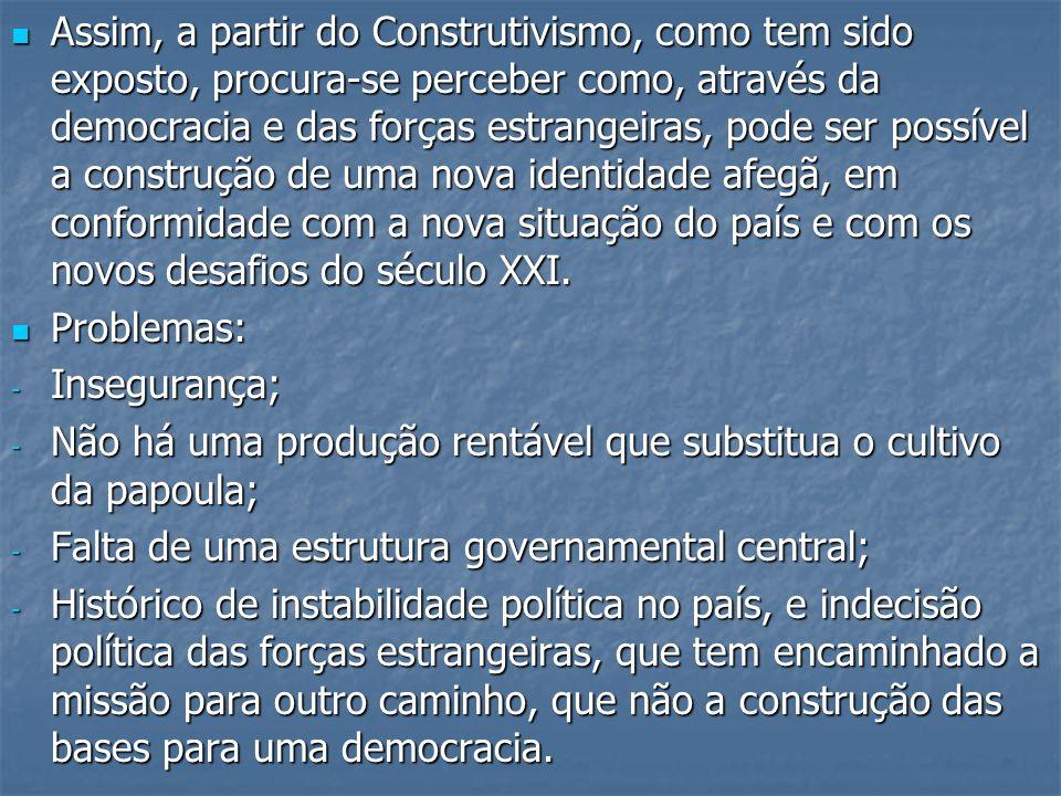 Assim, a partir do Construtivismo, como tem sido exposto, procura-se perceber como, através da democracia e das forças estrangeiras, pode ser possível