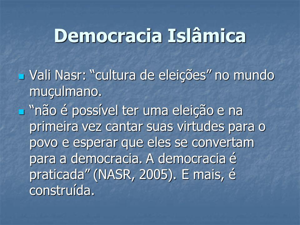 Democracia Islâmica Vali Nasr: cultura de eleições no mundo muçulmano. Vali Nasr: cultura de eleições no mundo muçulmano. não é possível ter uma eleiç