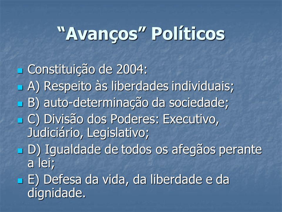 Avanços Políticos Constituição de 2004: Constituição de 2004: A) Respeito às liberdades individuais; A) Respeito às liberdades individuais; B) auto-de