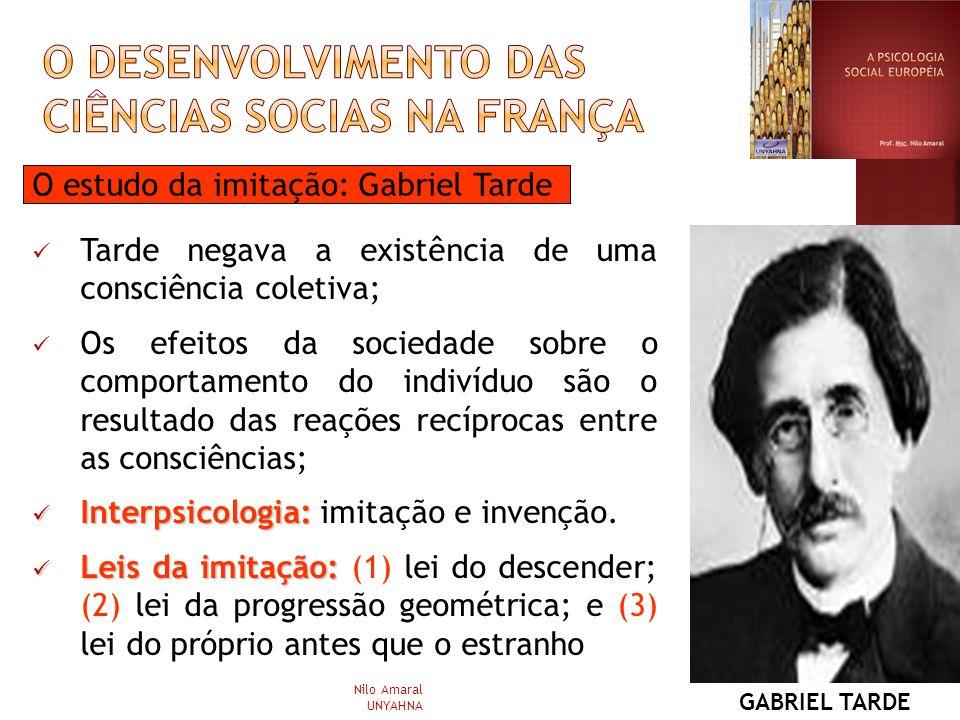 O estudo da imitação: Gabriel Tarde Tarde negava a existência de uma consciência coletiva; Os efeitos da sociedade sobre o comportamento do indivíduo