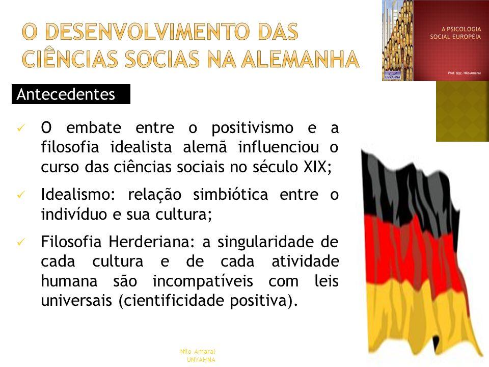 Antecedentes O embate entre o positivismo e a filosofia idealista alemã influenciou o curso das ciências sociais no século XIX; Idealismo: relação sim