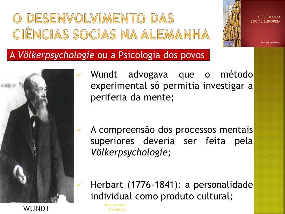 A Völkerpsychologie ou a Psicologia dos povos Wundt advogava que o método experimental só permitia investigar a periferia da mente; A compreensão dos