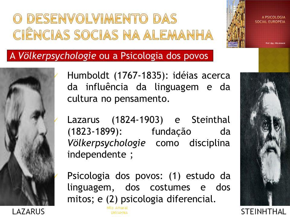 A Völkerpsychologie ou a Psicologia dos povos Humboldt (1767-1835): idéias acerca da influência da linguagem e da cultura no pensamento. Lazarus (1824