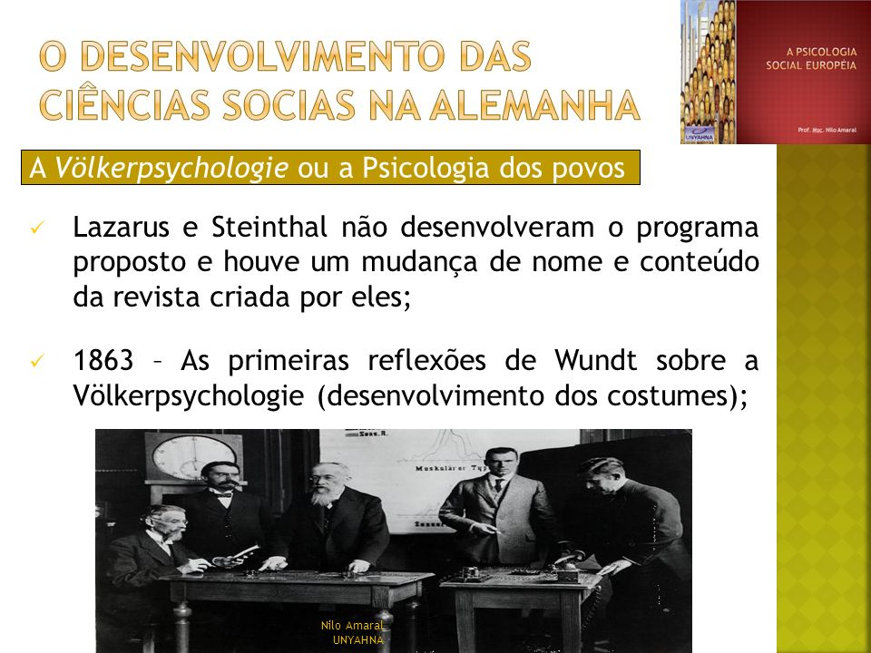 A Völkerpsychologie ou a Psicologia dos povos Lazarus e Steinthal não desenvolveram o programa proposto e houve um mudança de nome e conteúdo da revis