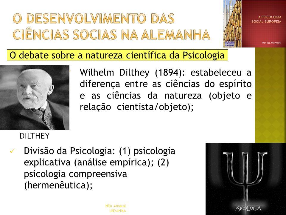 O debate sobre a natureza científica da Psicologia Wilhelm Dilthey (1894): estabeleceu a diferença entre as ciências do espírito e as ciências da natu