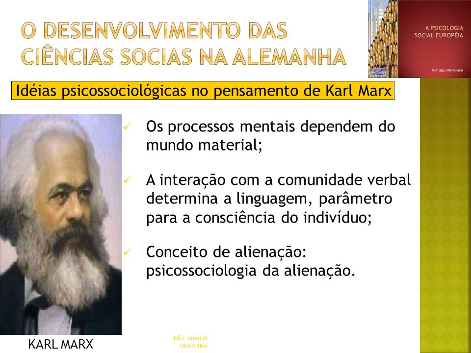 Idéias psicossociológicas no pensamento de Karl Marx Os processos mentais dependem do mundo material; A interação com a comunidade verbal determina a