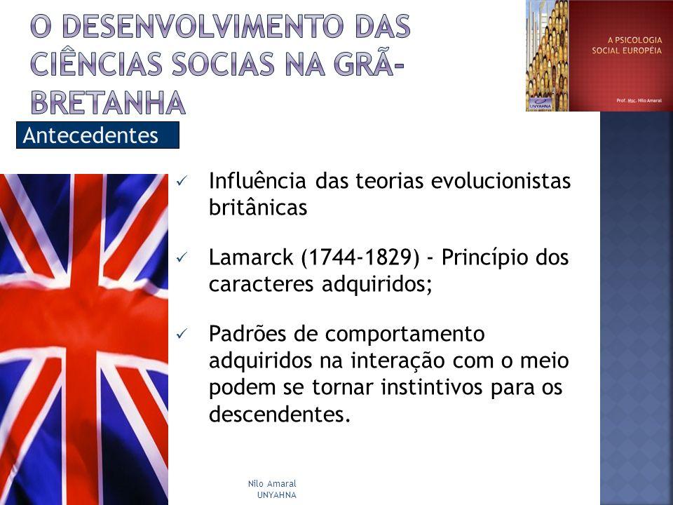 Antecedentes Influência das teorias evolucionistas britânicas Lamarck (1744-1829) - Princípio dos caracteres adquiridos; Padrões de comportamento adqu