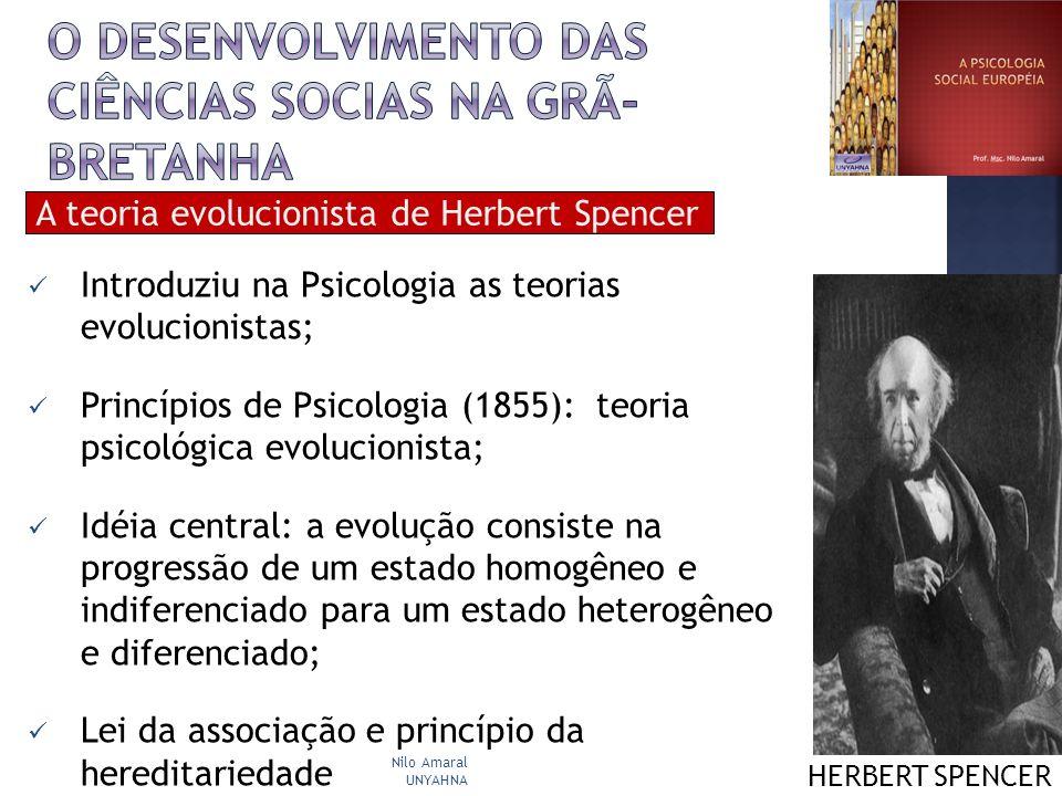 Introduziu na Psicologia as teorias evolucionistas; Princípios de Psicologia (1855): teoria psicológica evolucionista; Idéia central: a evolução consi