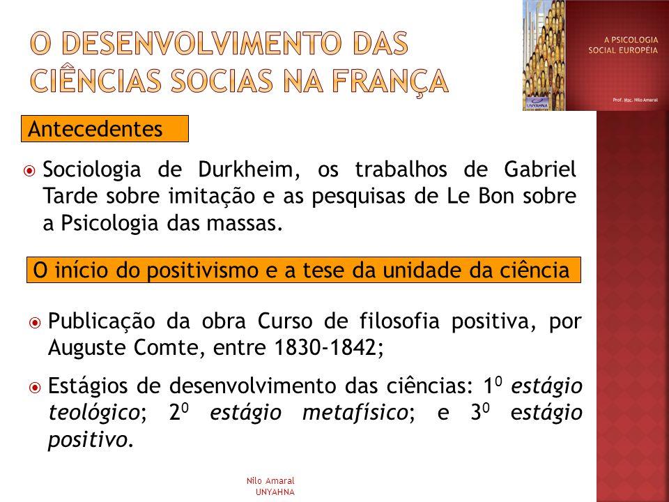 Sociologia de Durkheim, os trabalhos de Gabriel Tarde sobre imitação e as pesquisas de Le Bon sobre a Psicologia das massas. Antecedentes O início do