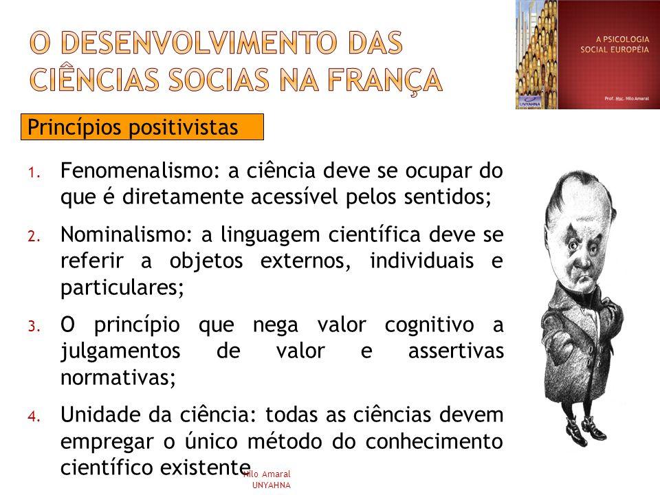 Princípios positivistas 1. Fenomenalismo: a ciência deve se ocupar do que é diretamente acessível pelos sentidos; 2. Nominalismo: a linguagem científi
