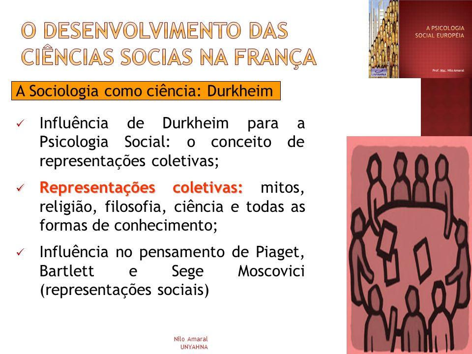 A Sociologia como ciência: Durkheim Influência de Durkheim para a Psicologia Social: o conceito de representações coletivas; Representações coletivas: