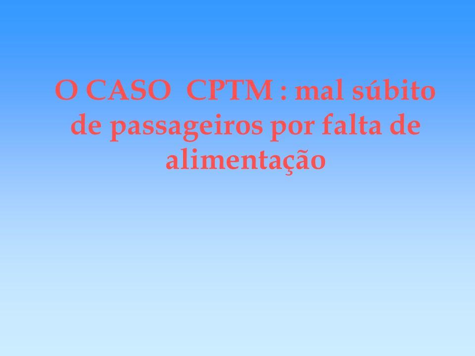 O CASO CPTM 500 casos de mal súbito/mês Diagnóstico : 32% por falta de alimentação Classes : C (42%) e D (26%) Concentração (63,2%): 2 ª e 3ª feiras : Idade : 21 a 30 anos