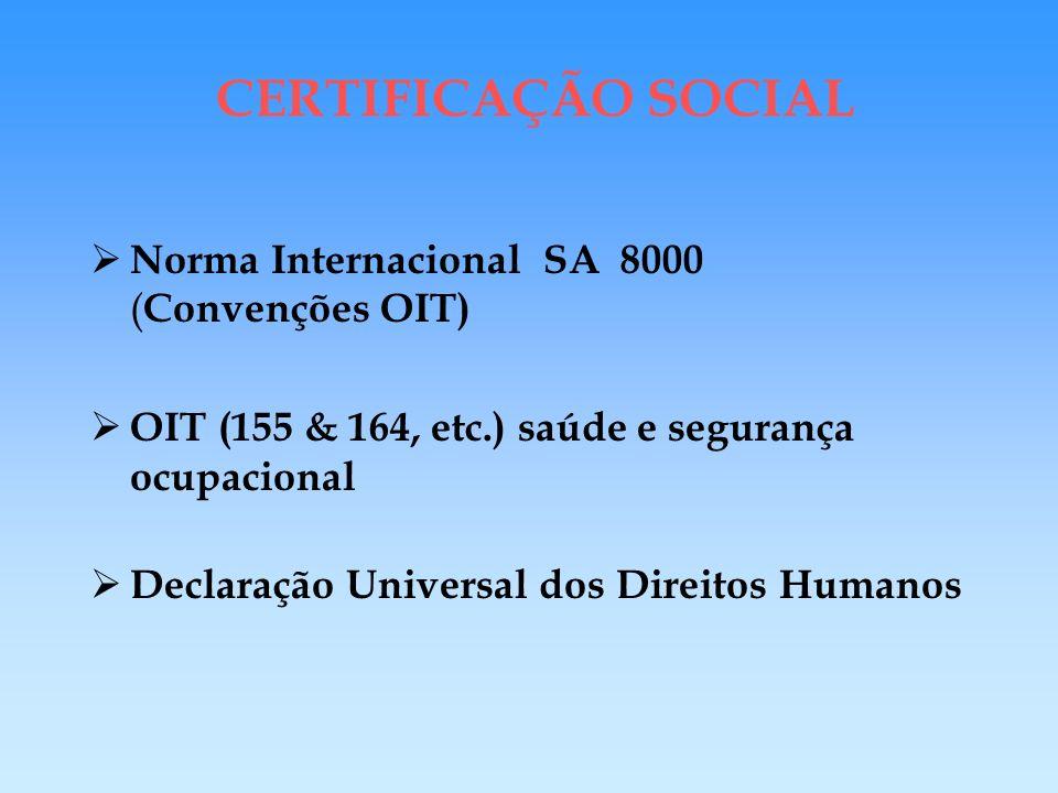 CERTIFICAÇÃO SOCIAL - Norma Internacional : SA 8000 sistemas : saúde e segurança de todos os funcionários