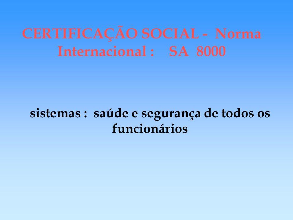 CERTIFICAÇÃO SOCIAL - Norma Internacional : SA 8000 responsabilidade social dos fornecedores/subcontratados