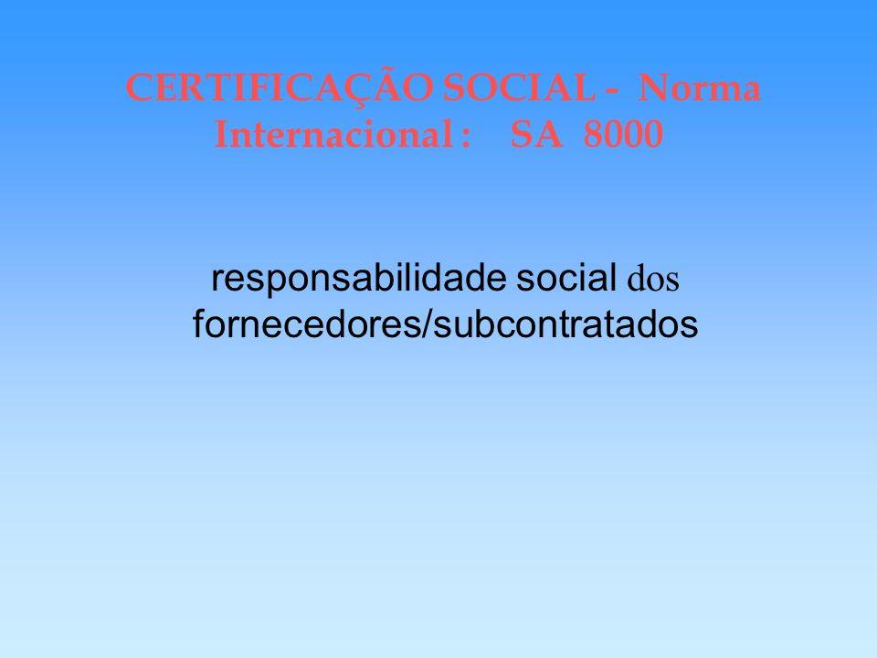 CERTIFICAÇÃO SOCIAL Norma Internacional SA 8000 Empresa deve assegurar proteção aos trabalhadores em domicílio