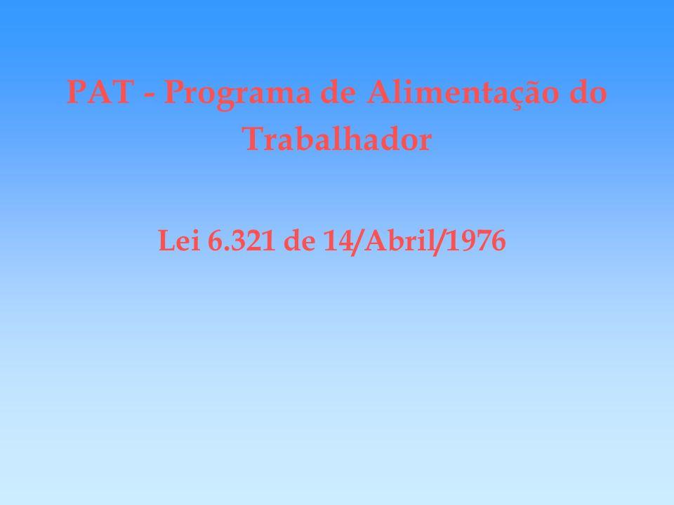 PAT - Programa de Alimentação do Trabalhador R$ 1,00 incentivo fiscal ± R$ 18,00 tributos FIA/USP