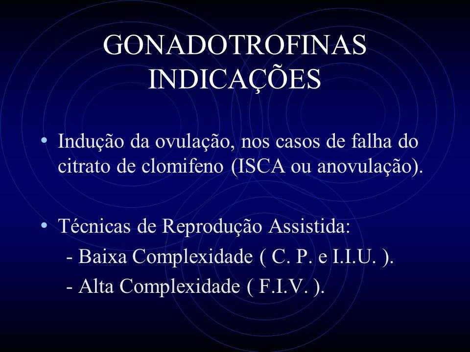 GONADOTROFINAS INDICAÇÕES Indução da ovulação, nos casos de falha do citrato de clomifeno (ISCA ou anovulação). Técnicas de Reprodução Assistida: - Ba