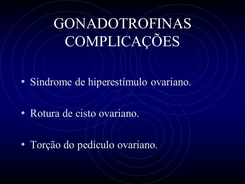 GONADOTROFINAS COMPLICAÇÕES Síndrome de hiperestímulo ovariano. Rotura de cisto ovariano. Torção do pedículo ovariano.