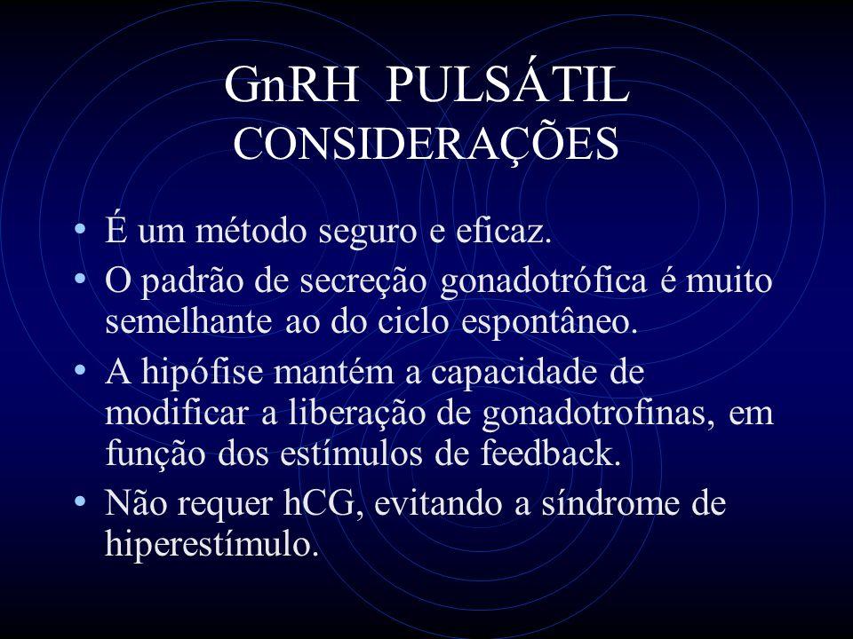 GnRH PULSÁTIL CONSIDERAÇÕES É um método seguro e eficaz. O padrão de secreção gonadotrófica é muito semelhante ao do ciclo espontâneo. A hipófise mant