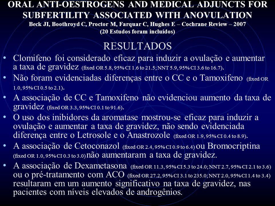 ORAL ANTI-OESTROGENS AND MEDICAL ADJUNCTS FOR SUBFERTILITY ASSOCIATED WITH ANOVULATION Beck JI, Boothroyd C, Proctor M, Farquar C, Hughes E – Cochrane Review – 2007 (20 Estudos foram incluídos) CONCLUSÃO DOS REVISORES O tratamento de primeira linha continua sendo o CC.