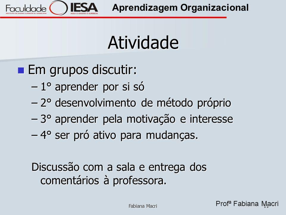Profª Fabiana Macri Aprendizagem Organizacional Fabiana Macri11 Atividade Em grupos discutir: Em grupos discutir: –1° aprender por si só –2° desenvolv