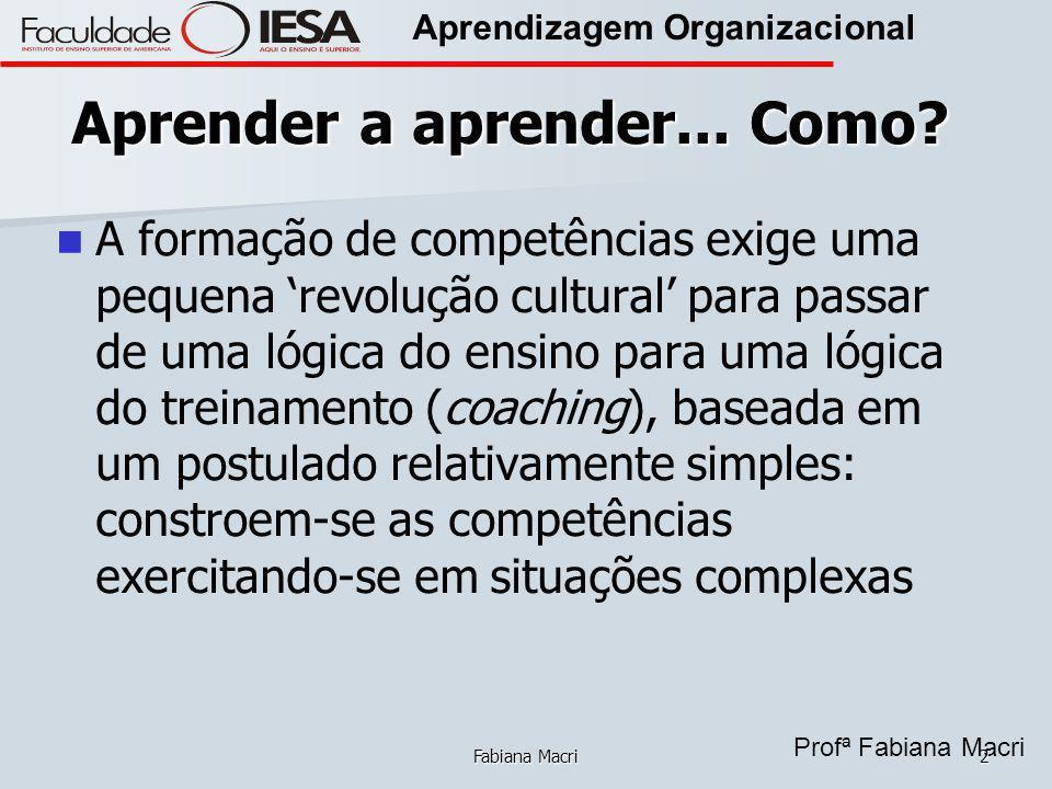 Profª Fabiana Macri Aprendizagem Organizacional Fabiana Macri2 Aprender a aprender... Como? A formação de competências exige uma pequena revolução cul