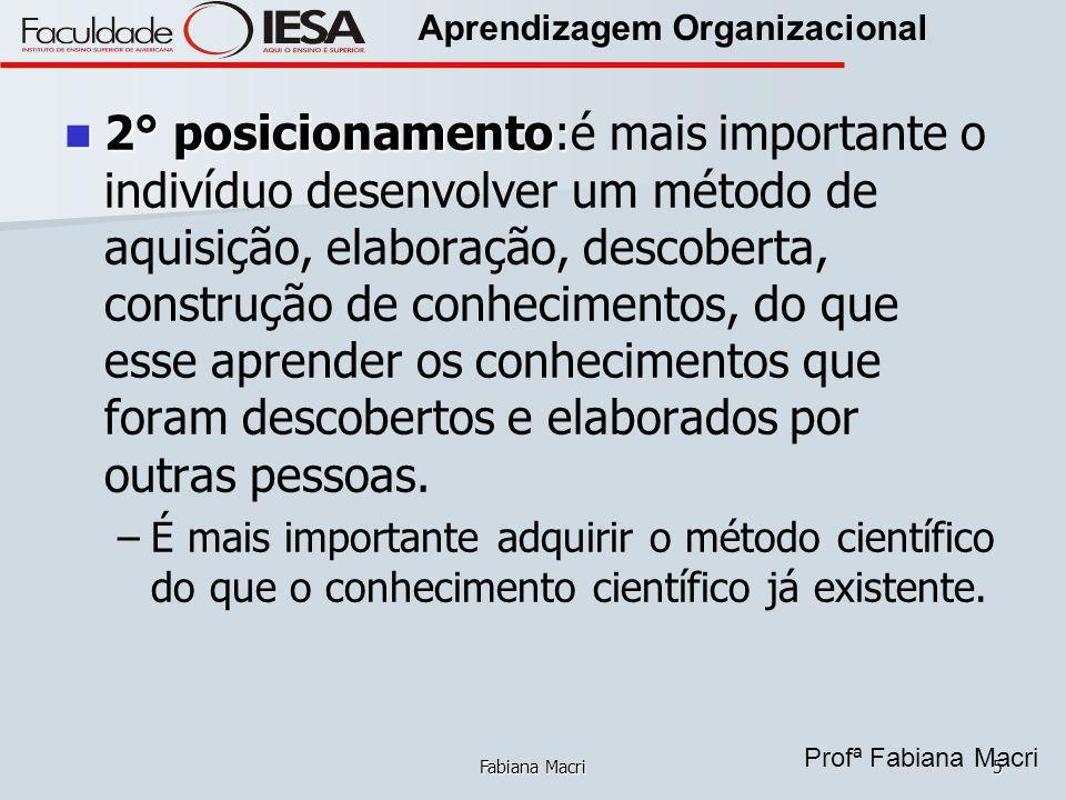 Profª Fabiana Macri Aprendizagem Organizacional Fabiana Macri5 2° posicionamento: 2° posicionamento:é mais importante o indivíduo desenvolver um métod