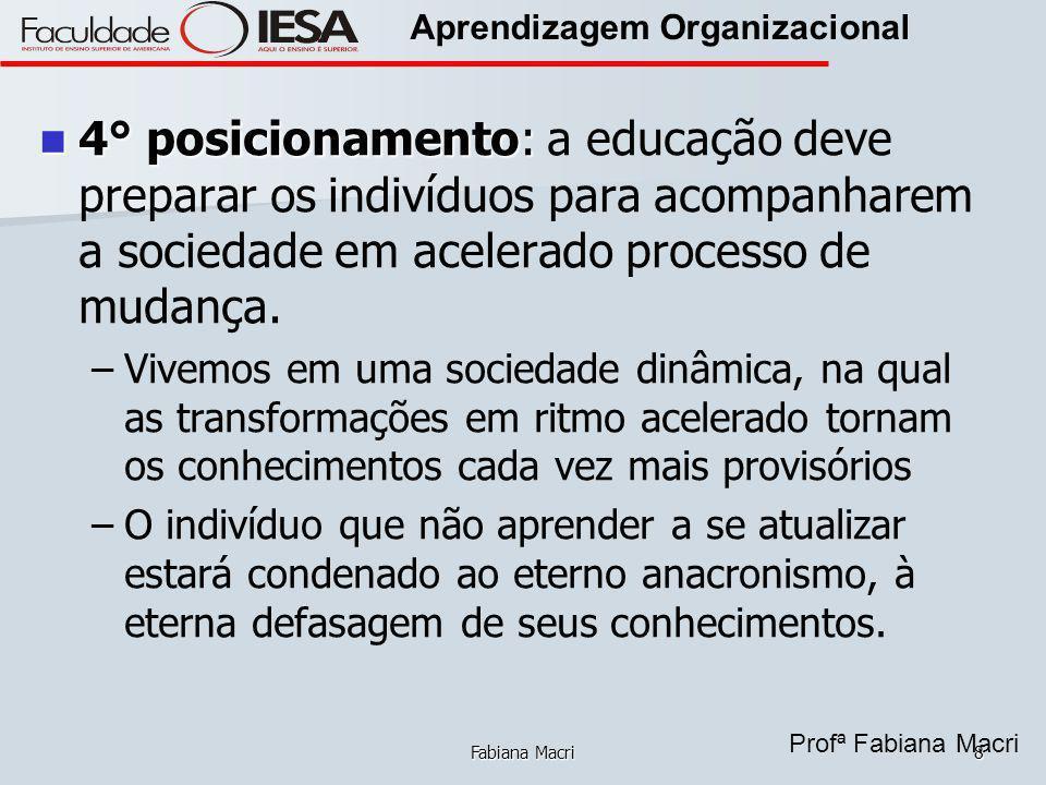 Profª Fabiana Macri Aprendizagem Organizacional Fabiana Macri8 4° posicionamento: 4° posicionamento: a educação deve preparar os indivíduos para acomp