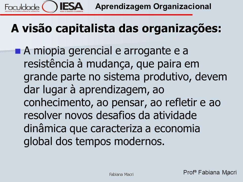 Profª Fabiana Macri Aprendizagem Organizacional Fabiana Macri9 A visão capitalista das organizações: A miopia gerencial e arrogante e a resistência à