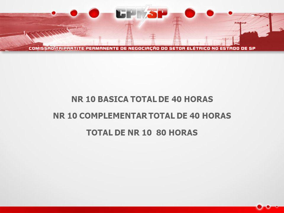 NR 10 BASICA TOTAL DE 40 HORAS NR 10 COMPLEMENTAR TOTAL DE 40 HORAS TOTAL DE NR 10 80 HORAS
