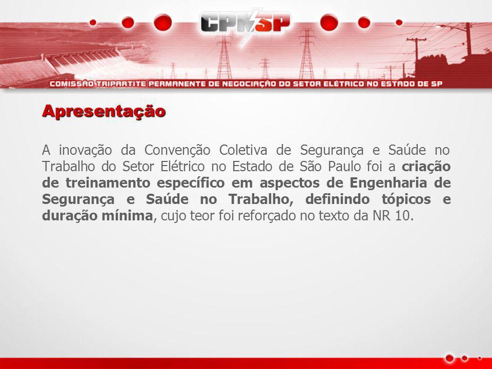 Apresentação A inovação da Convenção Coletiva de Segurança e Saúde no Trabalho do Setor Elétrico no Estado de São Paulo foi a criação de treinamento e