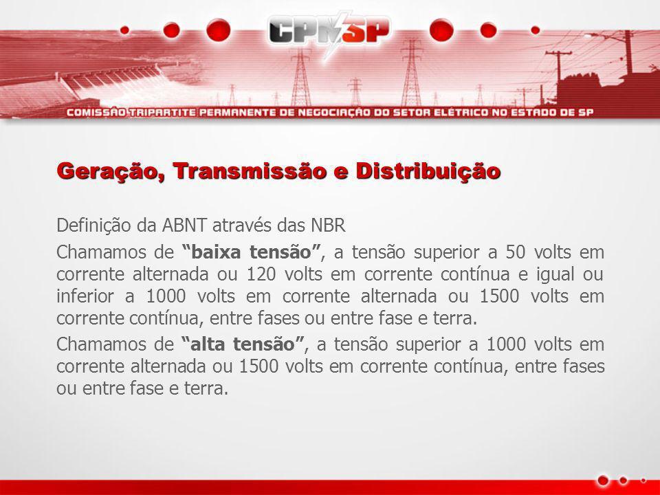 Definição da ABNT através das NBR Chamamos de baixa tensão, a tensão superior a 50 volts em corrente alternada ou 120 volts em corrente contínua e igu