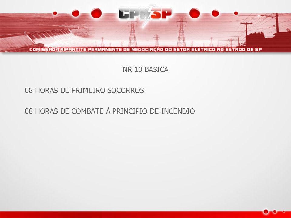 NR 10 BASICA 08 HORAS DE PRIMEIRO SOCORROS 08 HORAS DE COMBETE A PRINCIPIO DE INCENDIO 24 HORAS RISCOS COM ELETRICIDADE