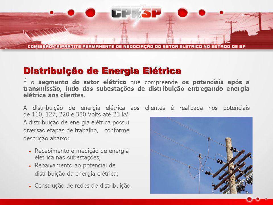Distribuição de Energia Elétrica É o segmento do setor elétrico que compreende os potenciais após a transmissão, indo das subestações de distribuição