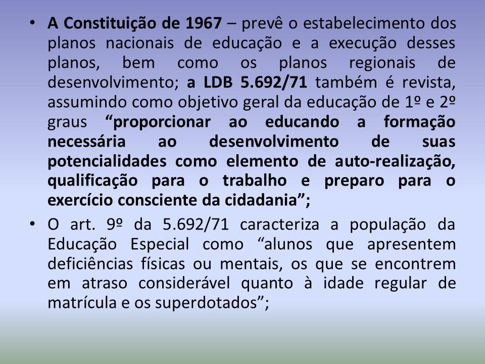 Resultados dessa política de atendimento, conforme dados do Ministério da Educação (1981): 17% de alunos que recebiam atendimento especializado encontravam-se em instituições administradas pelo Estado (municipal, estadual ou federal); 82,9% em instituições particulares.