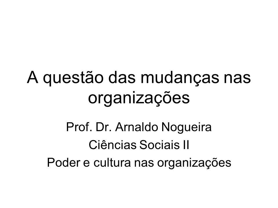 A questão das mudanças nas organizações Prof. Dr. Arnaldo Nogueira Ciências Sociais II Poder e cultura nas organizações