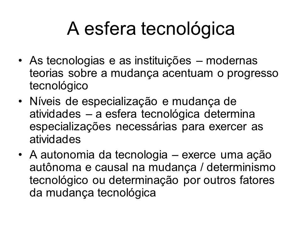 A esfera tecnológica As tecnologias e as instituições – modernas teorias sobre a mudança acentuam o progresso tecnológico Níveis de especialização e m