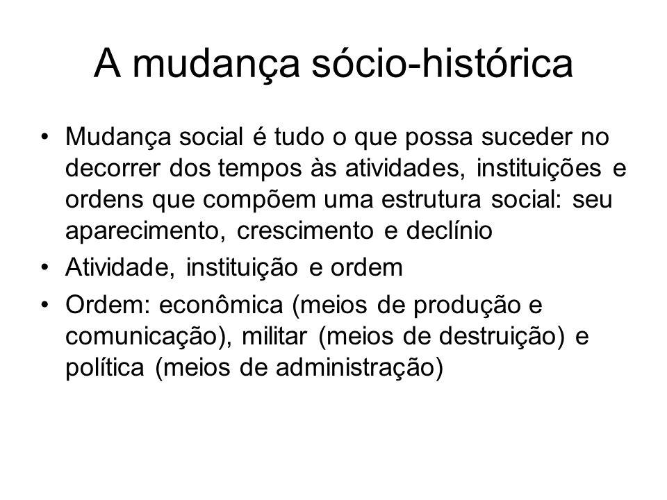 A mudança sócio-histórica Mudança social é tudo o que possa suceder no decorrer dos tempos às atividades, instituições e ordens que compõem uma estrut
