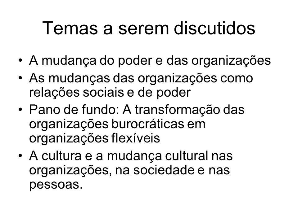 Temas a serem discutidos A mudança do poder e das organizações As mudanças das organizações como relações sociais e de poder Pano de fundo: A transfor
