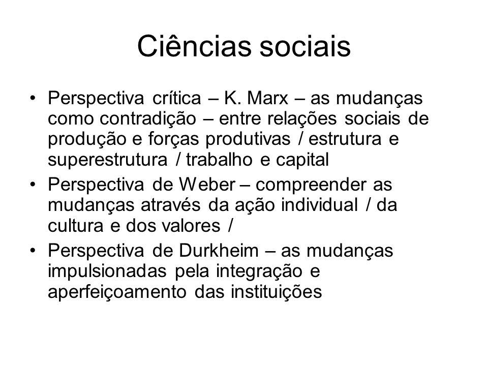 Ciências sociais Perspectiva crítica – K. Marx – as mudanças como contradição – entre relações sociais de produção e forças produtivas / estrutura e s